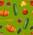 realistic detailed 3d harvest seamless pattern vector image vector image