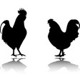 rooster and chicken silhouettes vector image