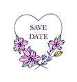 save the date hand drawn hearts with stylized vector image