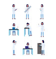 scientist woman character in actions set flat vector image vector image