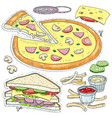 set fast food cut pizza sandwich cheese vector image vector image