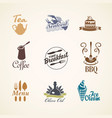 set logos on theme food and drink vector image