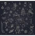 Set of doodle Christmas decorations on blackboard vector image