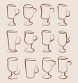 Sketch set coffee and latte cups design elements vector image vector image