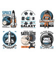 space and planets exploration icons vector image