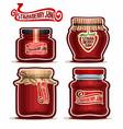strawberry jam in glass jars vector image