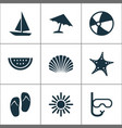 sun icons set collection of tube bead parasol vector image vector image