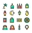 thin line islam icons set vector image vector image