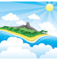 tropical island with a volcano vector image