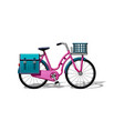 urban family bike with bags and a basket flat vector image