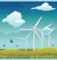 wind turbines in field vector image