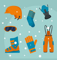winter equipment background flat style vector image