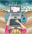 woman working at laptop at beach remote work vector image