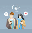 young couple drinking coffee vector image