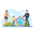 young family with kid standing near dog kennel vector image