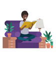 young man in the livingroom avatar character vector image
