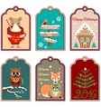 6 Christmas gift tags vector image