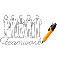 Drawing business team work people vector image