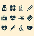 antibiotic icons set collection of drug analyzes vector image vector image