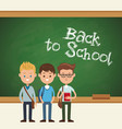 back to school students boy chalkboard text vector image vector image
