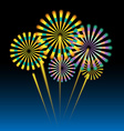 Beautiful fireworks on dark blue vector image vector image