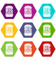 big burger icons set 9 vector image vector image