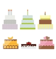 Birthday Cake Flat Icon Set for Your Design vector image