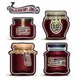 blackberry jam in glass jars vector image vector image
