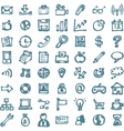 Blue business hand drawn doodles highligher icons vector image