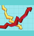 business chart falls and growth vector image
