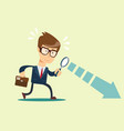 businessman looking through a magnifying glass vector image vector image
