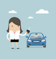 businesswoman holding a key of a new car vector image vector image