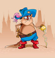 cartoon cat in the clothes of a musketeer vector image vector image