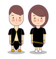 central kalimantan province wedding couple cute vector image vector image