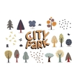 City park set white vector image