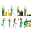 cleaner characters with cleaning equipment vector image vector image