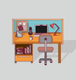 colorful background work place home office vector image vector image