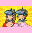 couple man and woman in virtual reality vector image vector image