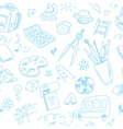 Creative seamless school pattern with blue pen vector image