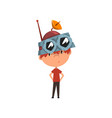 cute kid in headdress with antenna scientist boy vector image vector image