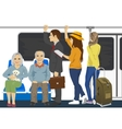Diverse people inside metro subway train vector image vector image