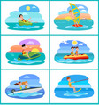 donut ride set of activities vector image