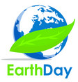 earth day text and world flat graphic for vector image vector image