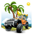 extreme orange off road vehicle suv on a beach vector image vector image