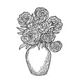 flowers in vase engraving vector image vector image