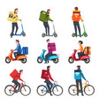 food delivery service male couriers riding vector image vector image