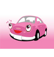 Funny smiling cute pink car vector image