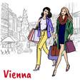 girlfriends in vienna vector image vector image
