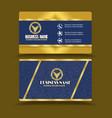 golden blue business card golden visiting card vector image vector image
