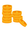 golden dollar coins financial success and wealth vector image vector image